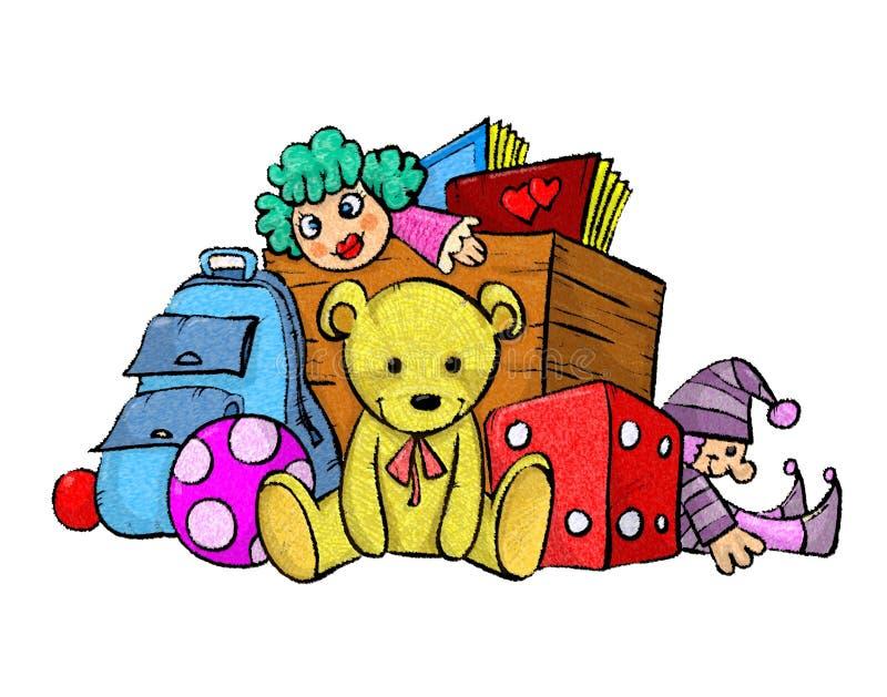Pila de juguetes stock de ilustración
