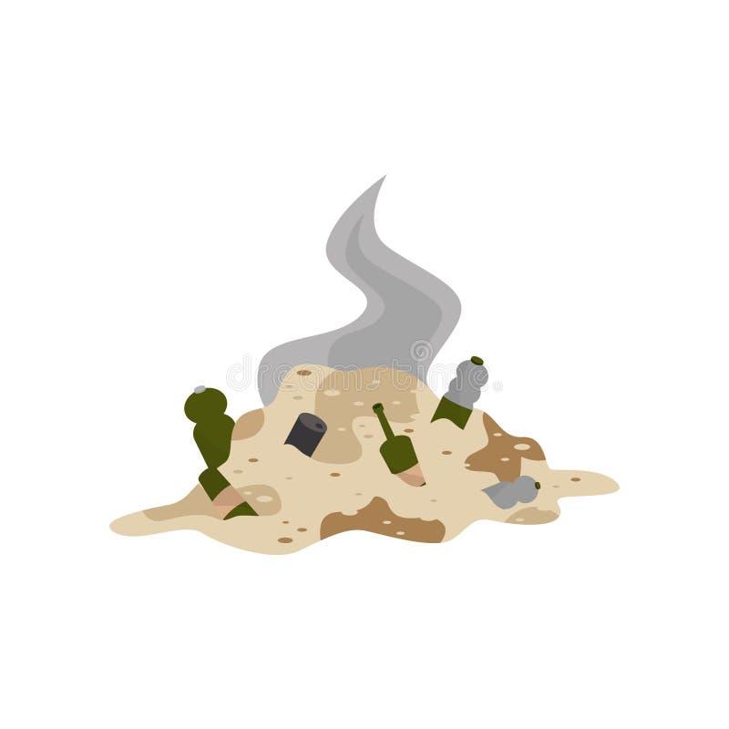 Pila de la basura de decaimiento, ejemplo del vector del problema de la contaminación ambiental en un fondo blanco stock de ilustración