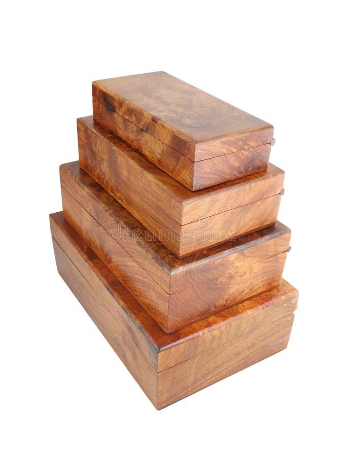 Pila de la caja de madera en el fondo blanco fotos de archivo libres de regalías