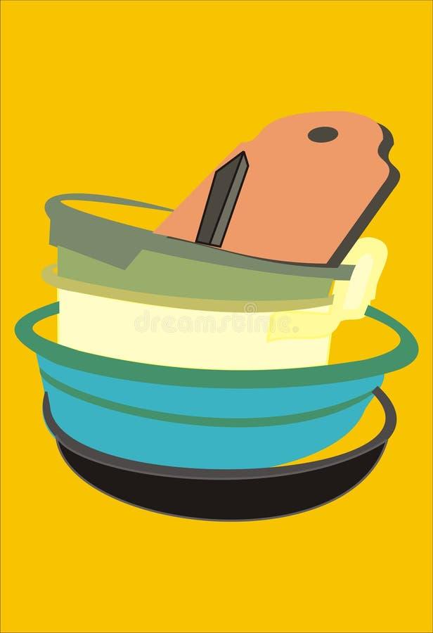 Pila de la imagen de cuencos y de utensilios de la cocina imagenes de archivo