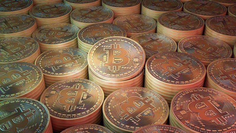 Pila de la moneda de bitcoins ilustración del vector
