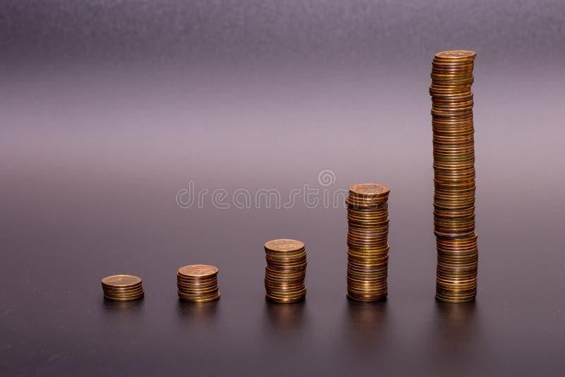 Pila de la moneda de oro imágenes de archivo libres de regalías