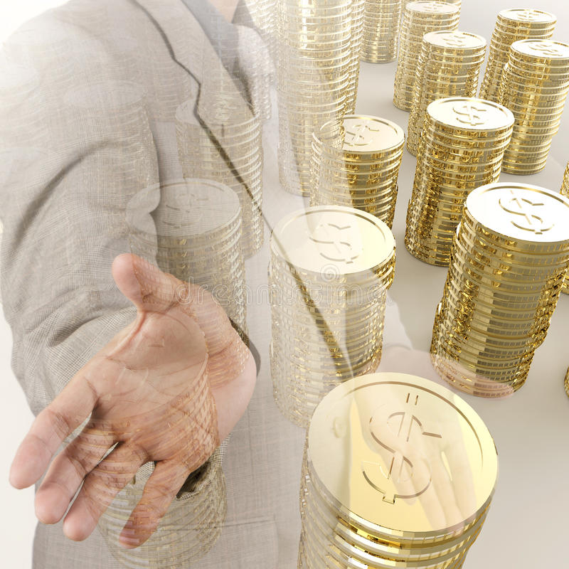 Pila de la muestra de dólar de oro de las monedas 3d imagenes de archivo