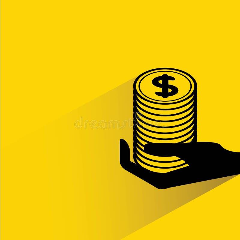 Pila de la tenencia de la mano de dólar stock de ilustración