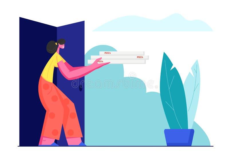 Pila de la tenencia de la mujer joven de cajas italianas de la pizza que se colocan en las puertas del hogar Servicio de entrega  stock de ilustración