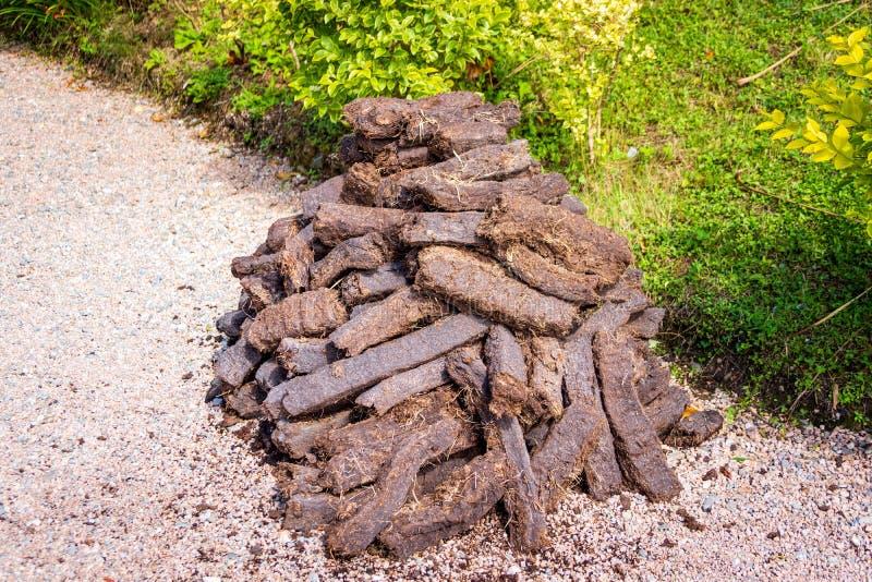 Pila de ladrillos marrones de la turba que se secan en luz del sol en hierba verde foto de archivo