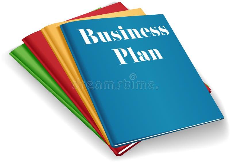 Pila de las carpetas de la carpeta del plan empresarial stock de ilustración