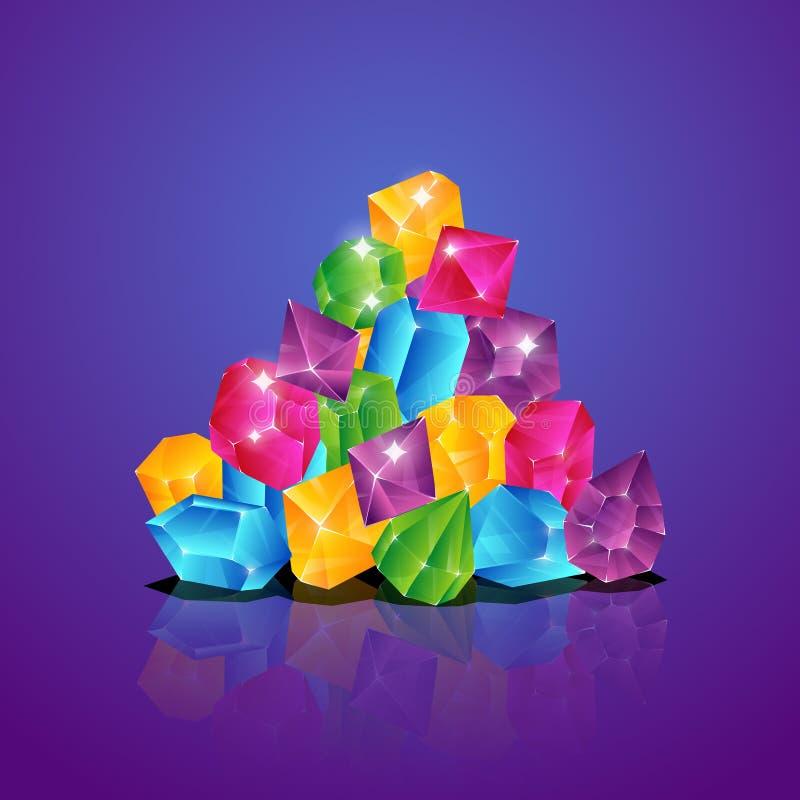 Pila de las joyas Los diamantes coloreados apilan el ejemplo brillante del vector de la historieta del tesoro de las pilas de las stock de ilustración