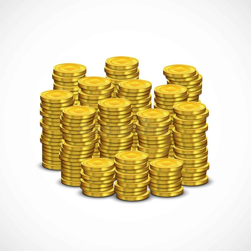 Pila de las monedas de oro ilustración del vector