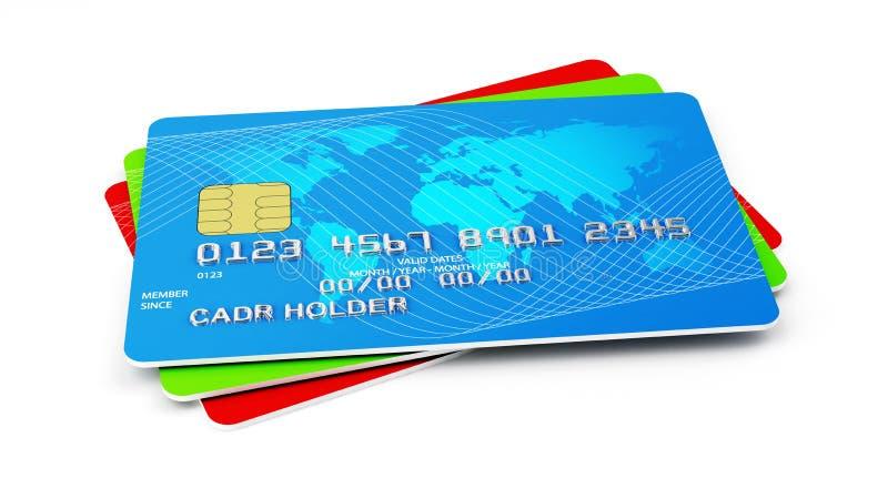Pila de las tarjetas de crédito stock de ilustración