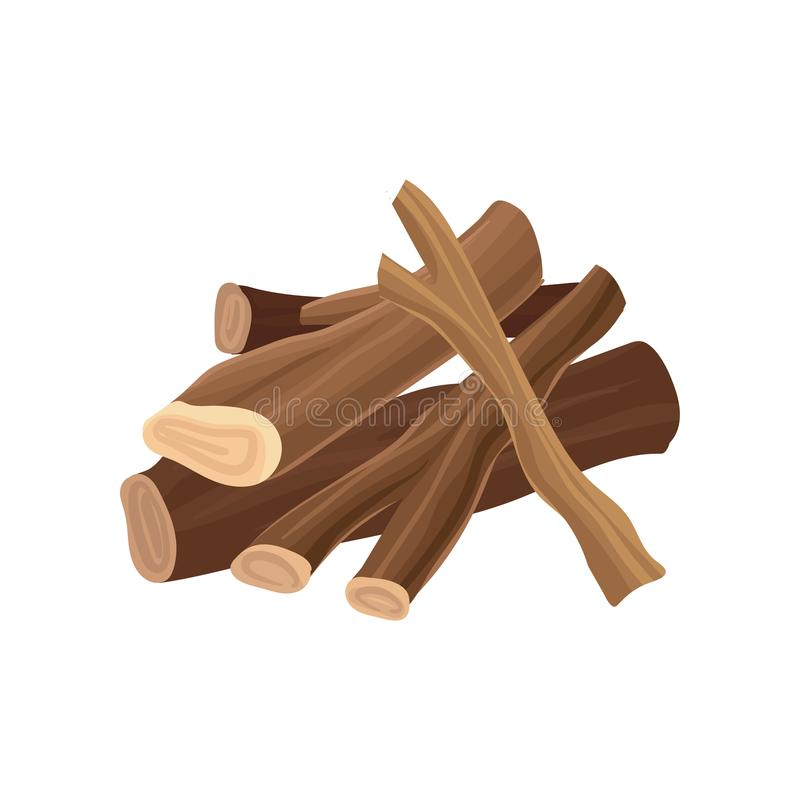 Pila de leña Registros secos para la hoguera Industria de madera de la producción de la madera de construcción Material de madera stock de ilustración