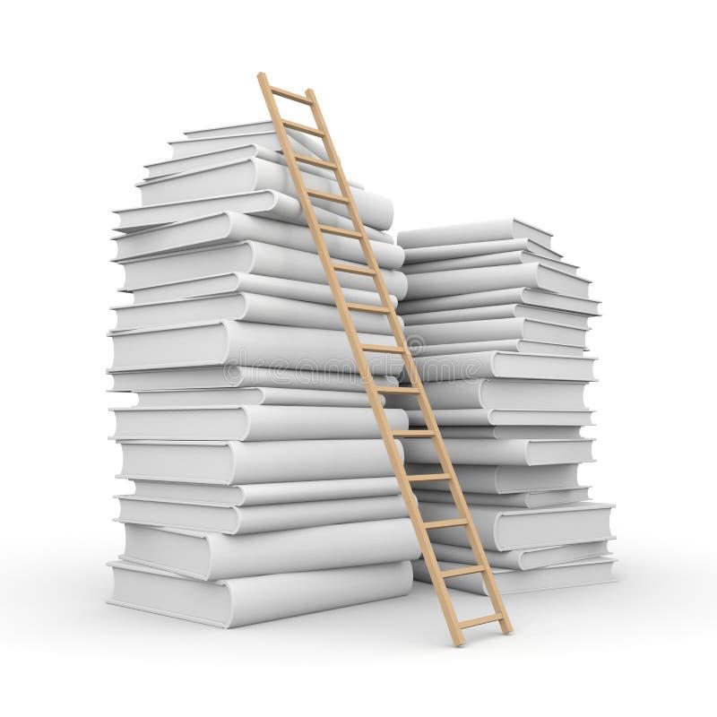 Pila de libro con la escalera stock de ilustración