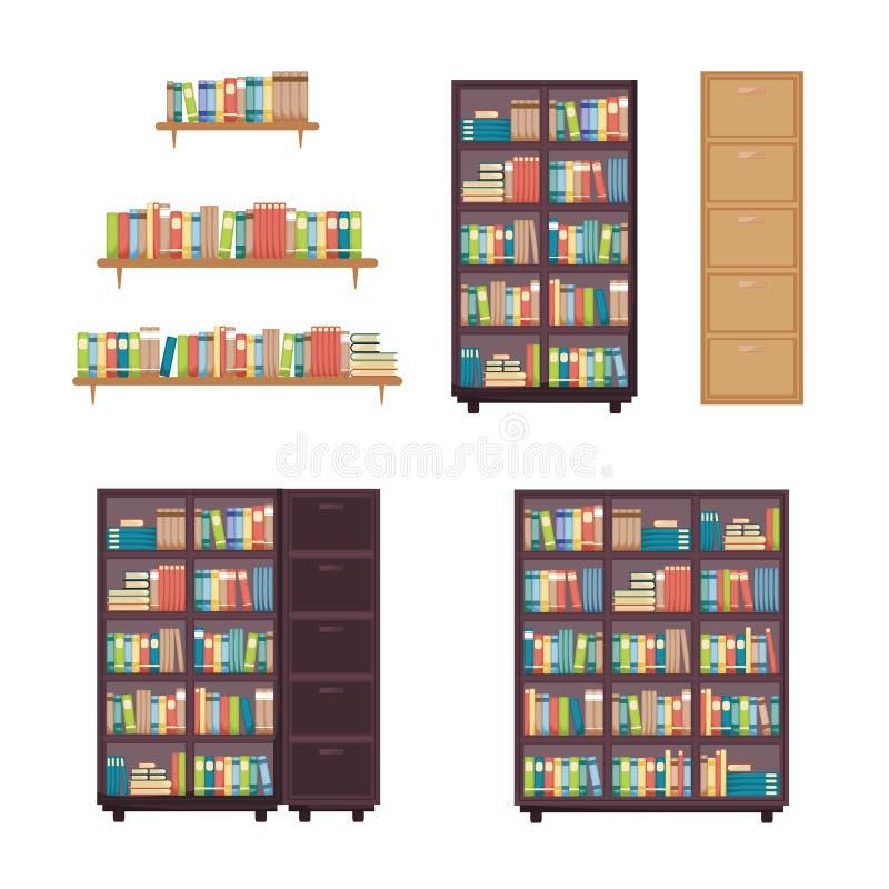 Pila de libro de la literatura en los muebles de la biblioteca del estante del estante para libros del estante libre illustration
