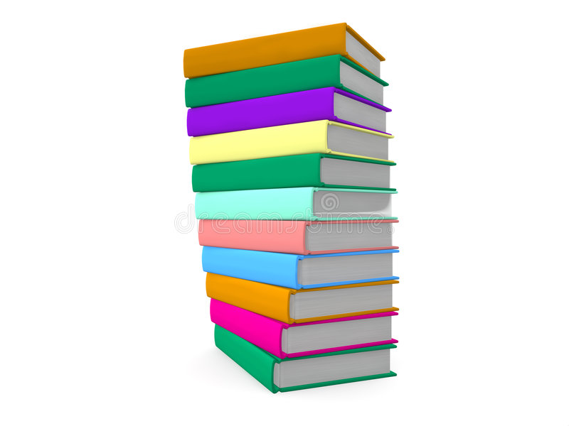 Pila de libros coloreados stock de ilustración
