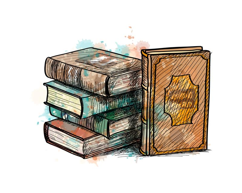 Pila de libros coloreados multi stock de ilustración