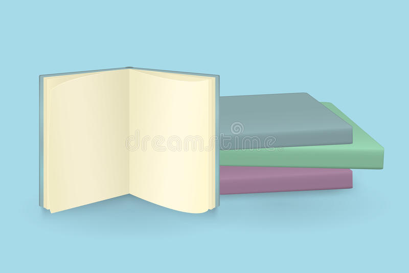 Pila de libros coloreados multi ilustración del vector