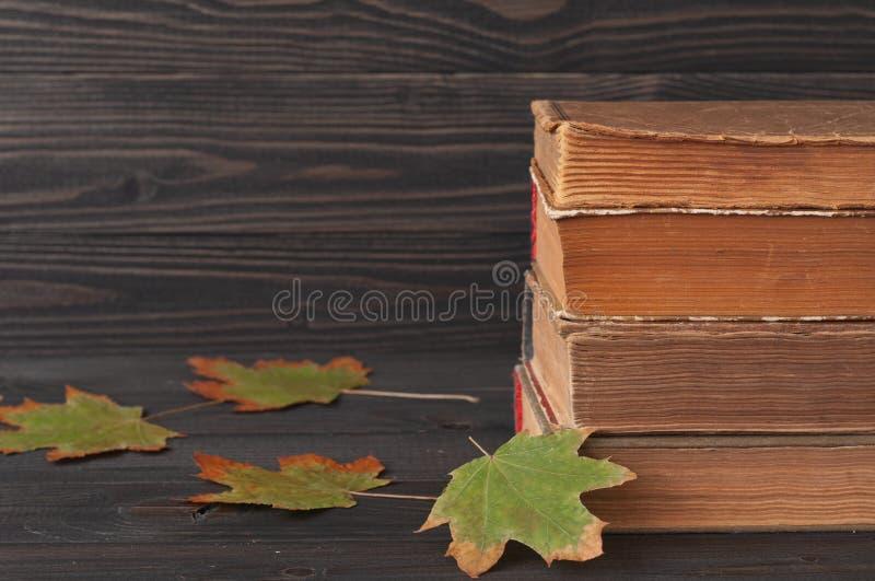 Pila de libros con las hojas de arce del otoño imagen de archivo libre de regalías