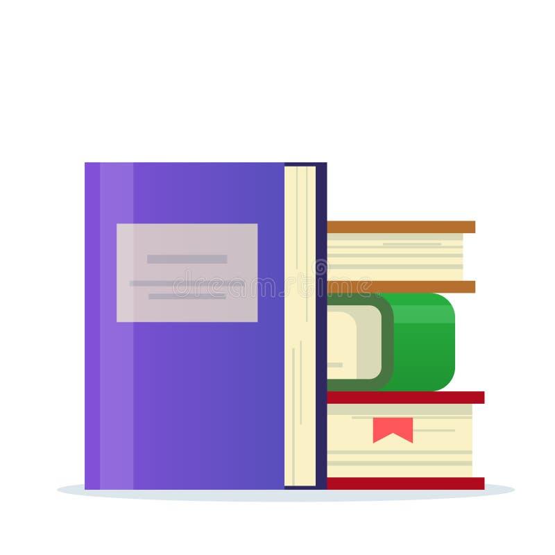 Pila de libros con una señal Icono para la sección de la biblioteca o del libro Ejemplo plano del vector aislado en el fondo blan stock de ilustración