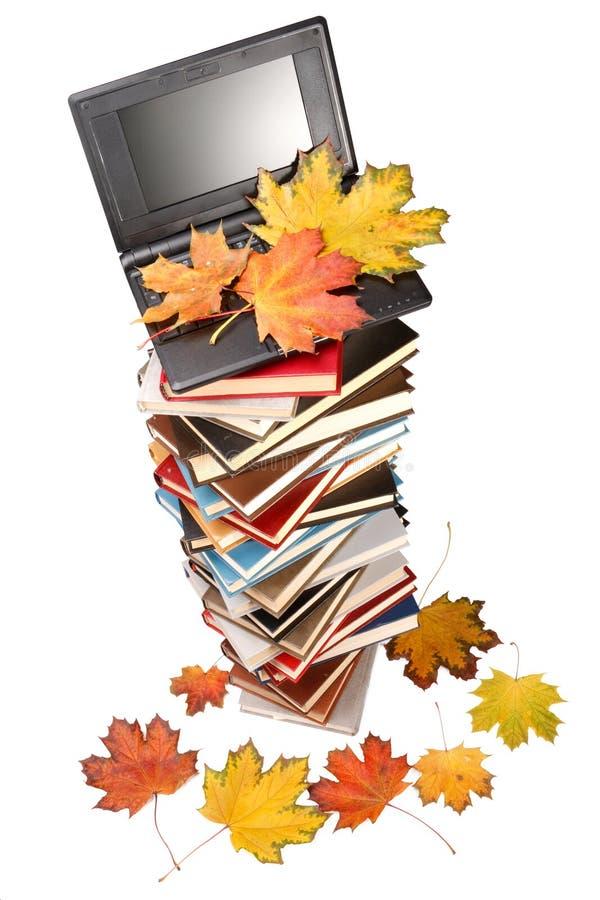 Pila de libros, de cuaderno y de hojas de otoño imagen de archivo libre de regalías