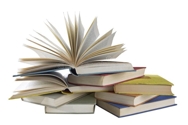 Pila de libros de la vendimia, aislada, camino de recortes foto de archivo