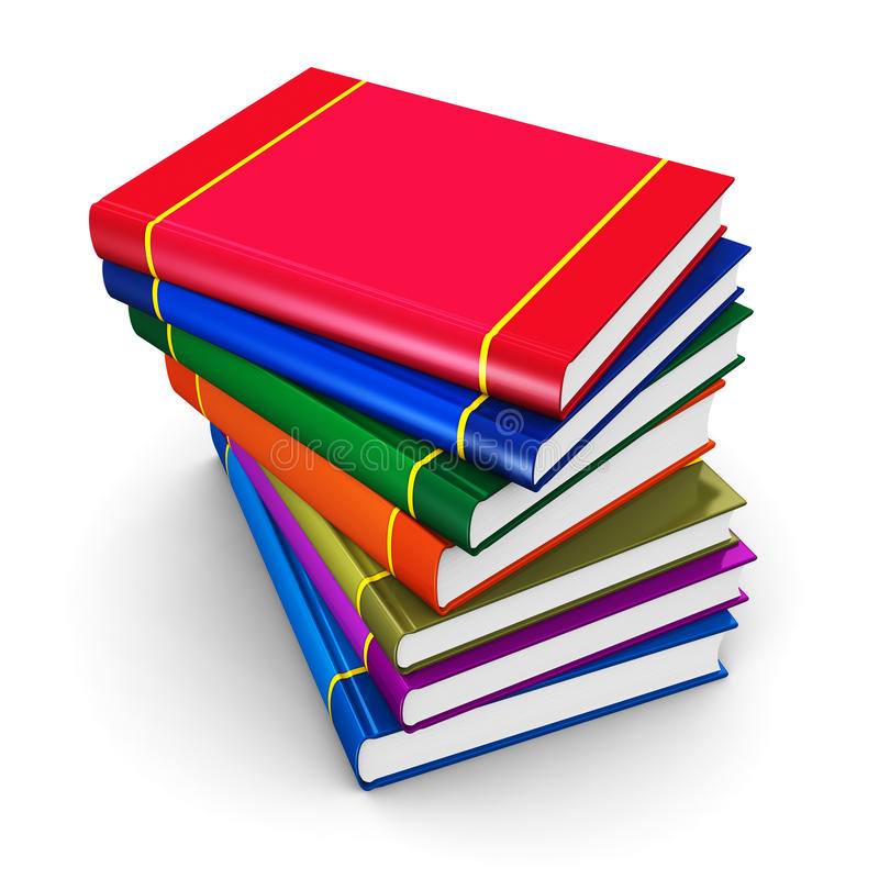 Pila de libros de tapa dura del color stock de ilustración