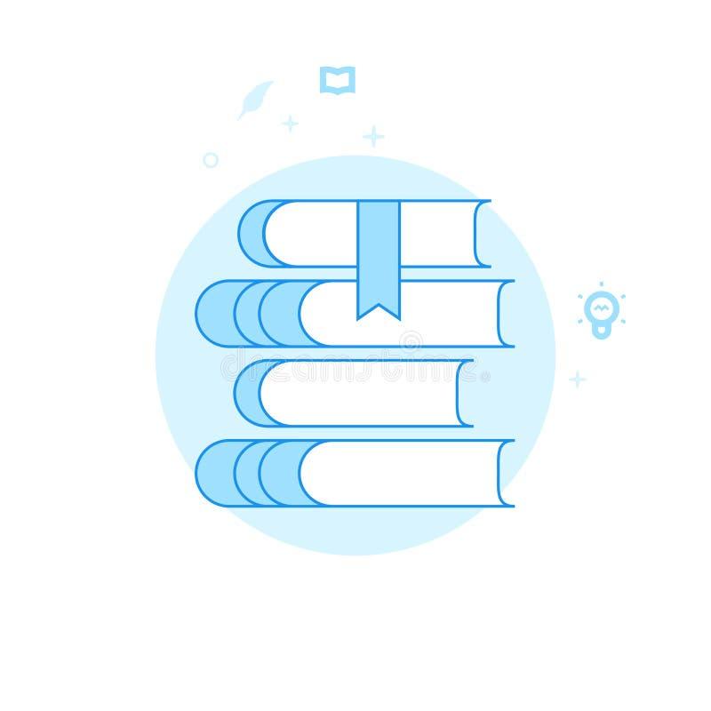 Pila de libros, ejemplo plano del vector de la biblioteca, icono Diseño monocromático azul claro Movimiento Editable libre illustration