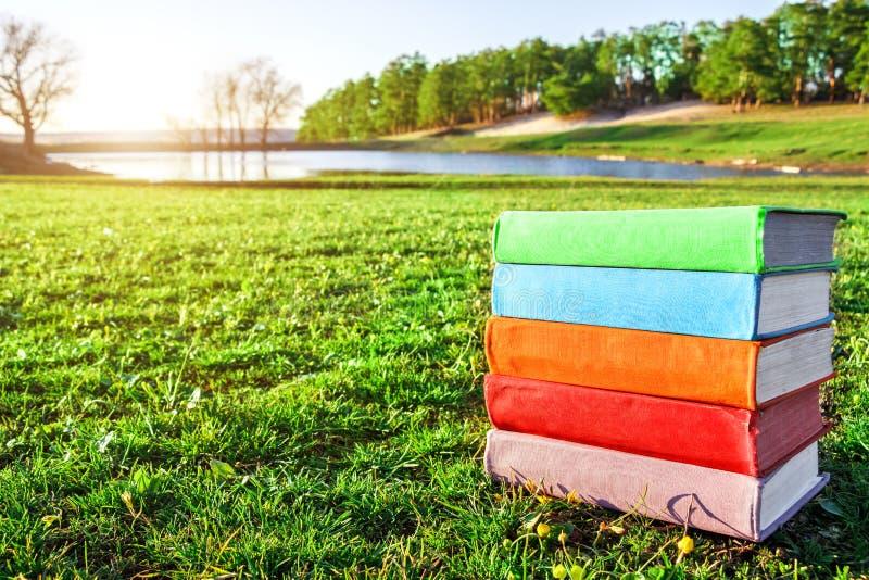 Pila de libros multicolores en la hierba verde en la puesta del sol Búsquedas recreativas Pasatiempos fotos de archivo libres de regalías