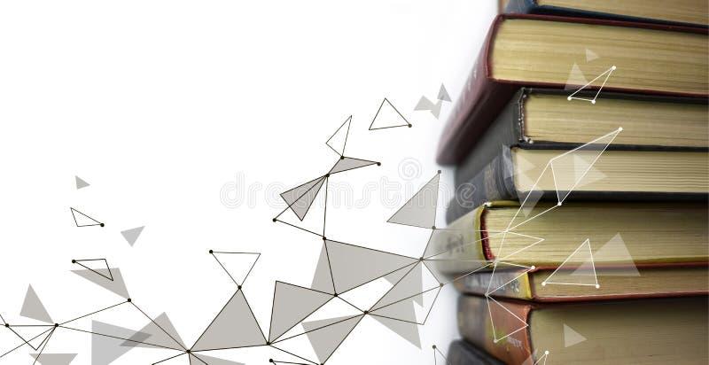 Pila de libros multicolores Libros de texto viejos apilados en uno a Concepto en línea de la tecnología de la educación Aprendiza stock de ilustración