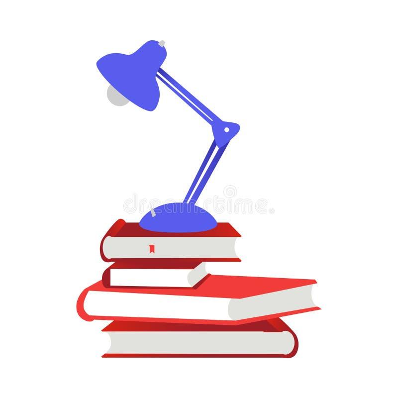 Pila de libros de papel cercanos con el hardcover rojo y la lectura-lámpara aislados en el fondo blanco libre illustration