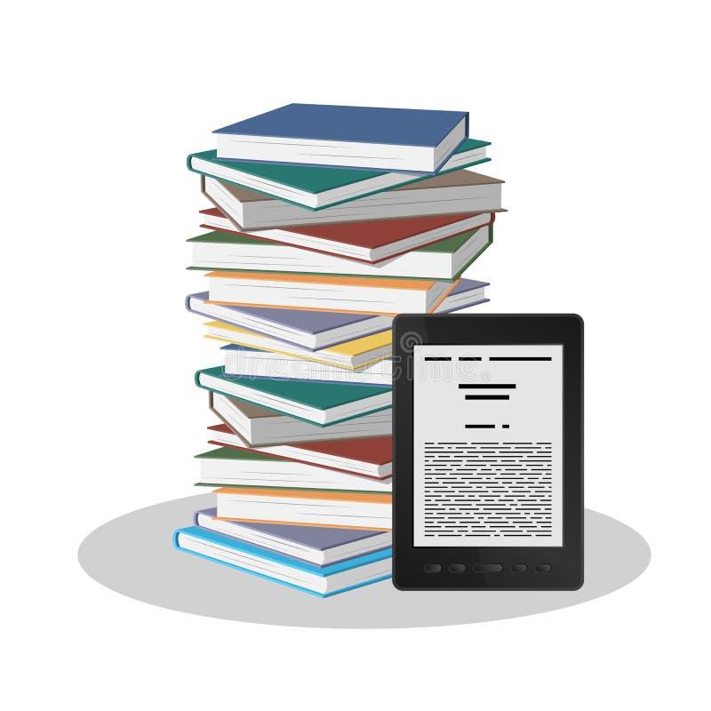 Pila de libros y de un libro electrónico en un fondo blanco fotos de archivo libres de regalías