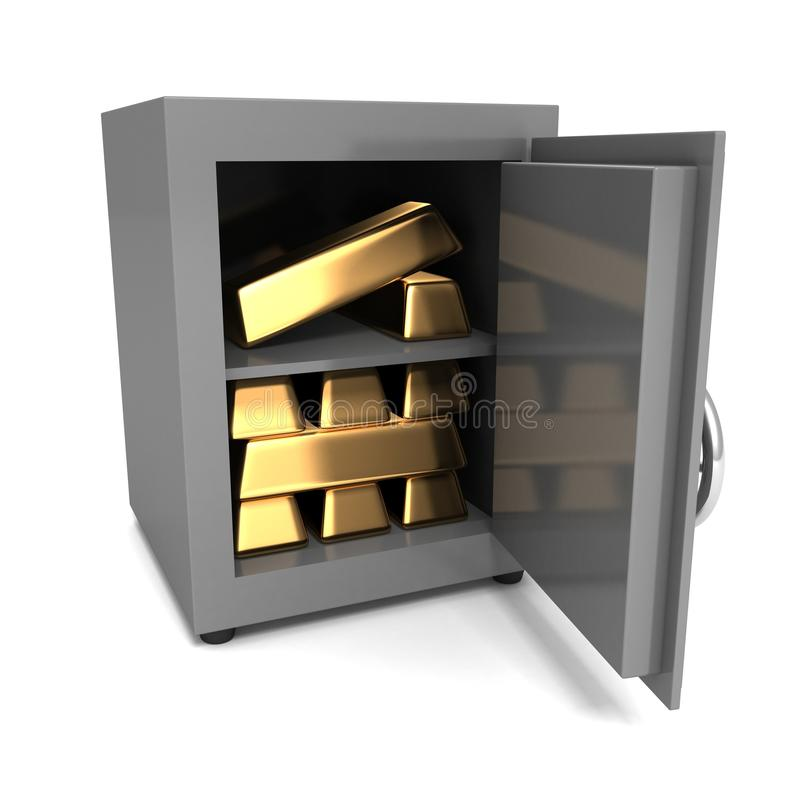 Pila de lingotes de oro en la caja fuerte de acero de la cámara acorazada de banco stock de ilustración
