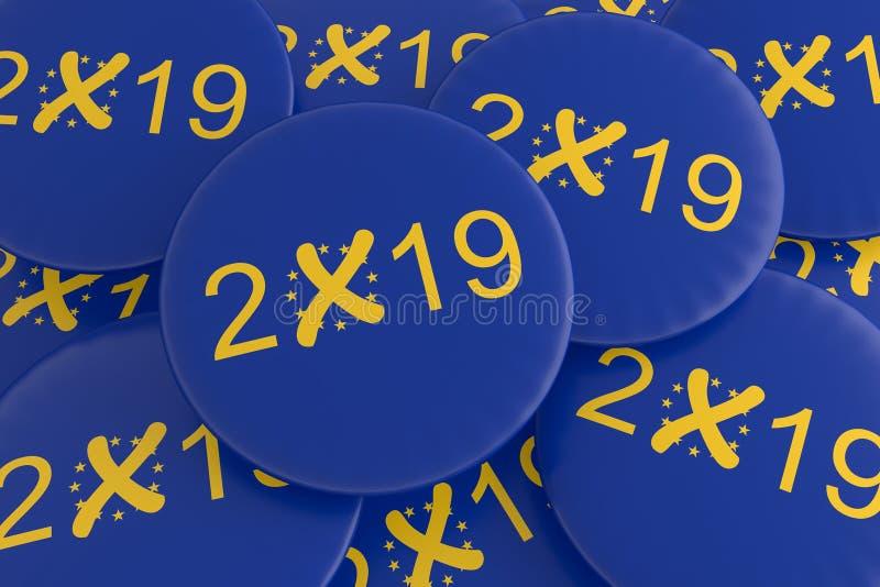 Pila de los botones 2019 de la elección europea de E. -, ejemplo 3d stock de ilustración