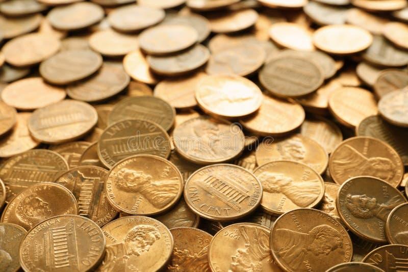 Pila de los E.E.U.U. brillantes monedas de un centavo imagen de archivo libre de regalías