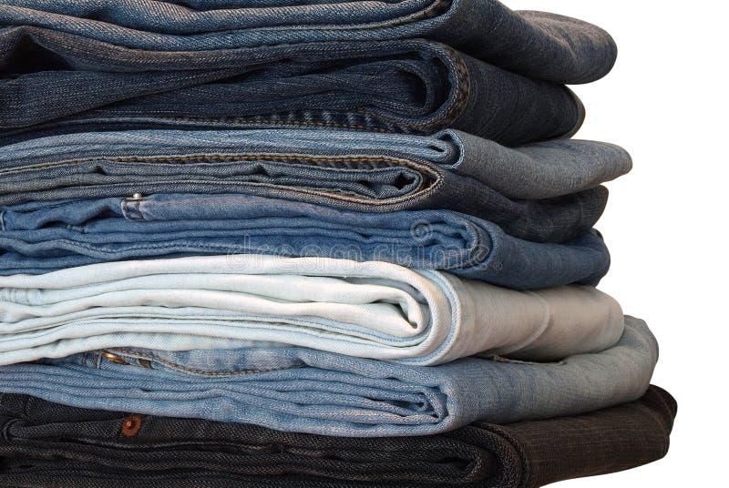 Pila de los pantalones vaqueros foto de archivo