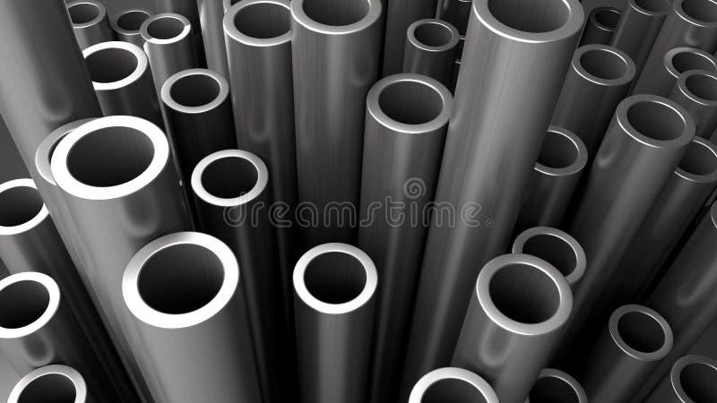 Pila de los tubos de acero ilustración del vector