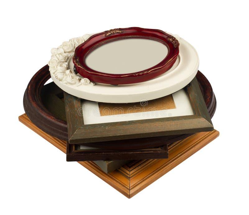 Pila de marcos de madera del vintage imagenes de archivo