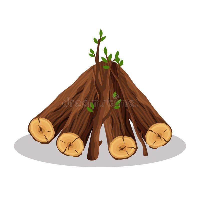Pila de materiales de la leña para la industria de la madera de construcción aislados en el fondo blanco Pila de tronco de árbol  stock de ilustración