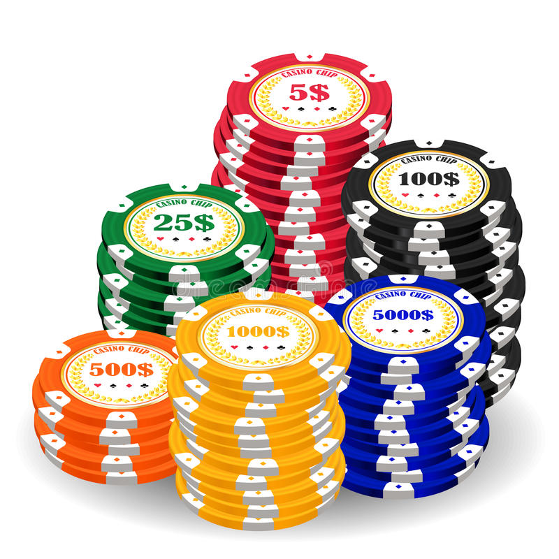 Pila de microprocesadores coloridos reales de un casino ilustración del vector