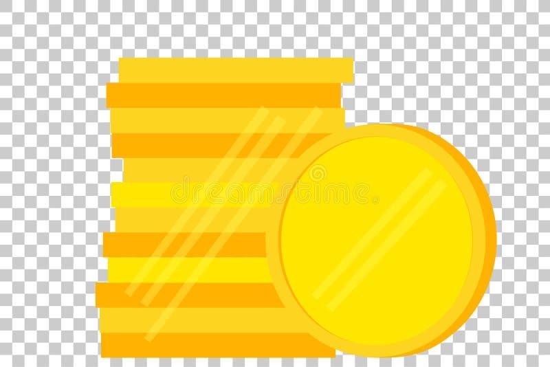Pila de moneda de oro en blanco ilustración del vector