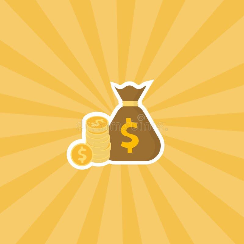 Pila de moneda del dólar y de bolso del dinero en fondo de la luz del sol Papel pintado abstracto de los rayos de sol Contexto am stock de ilustración