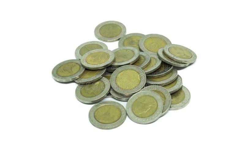 Pila de moneda tailandesa de diez baños fotos de archivo