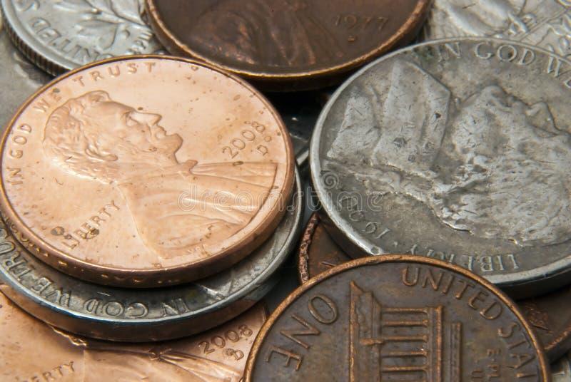 Pila de monedas americanas fotos de archivo libres de regalías