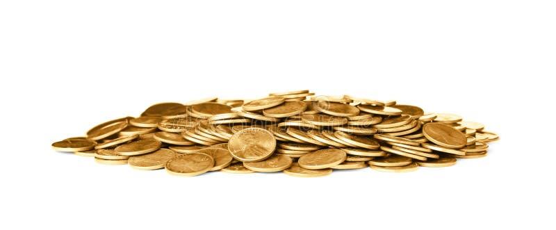 Pila de monedas brillantes de los E.E.U.U. imagenes de archivo