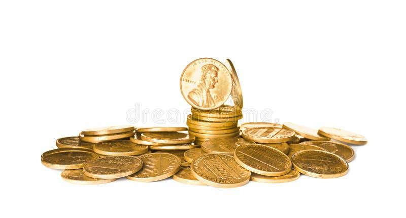 Pila de monedas brillantes de los E.E.U.U. foto de archivo