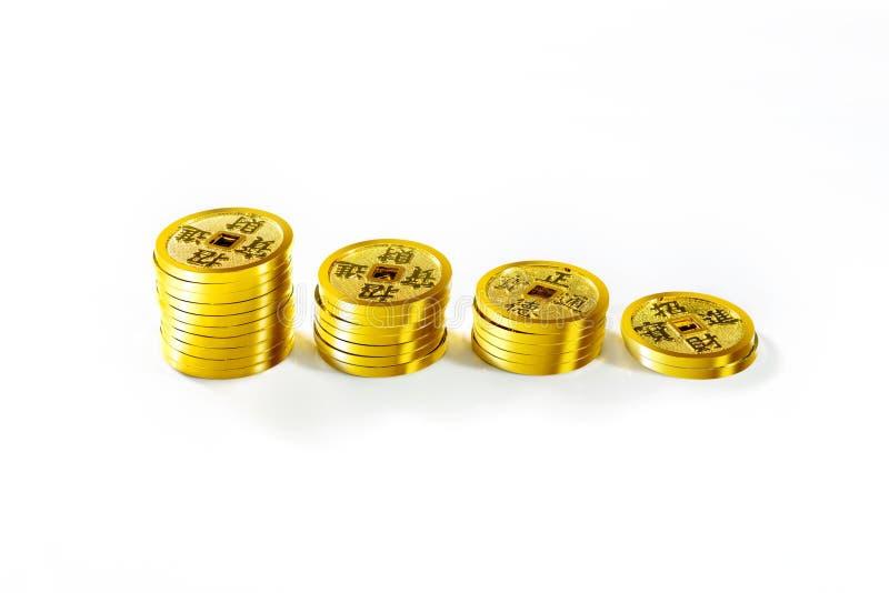 Pila de monedas chinas fotos de archivo