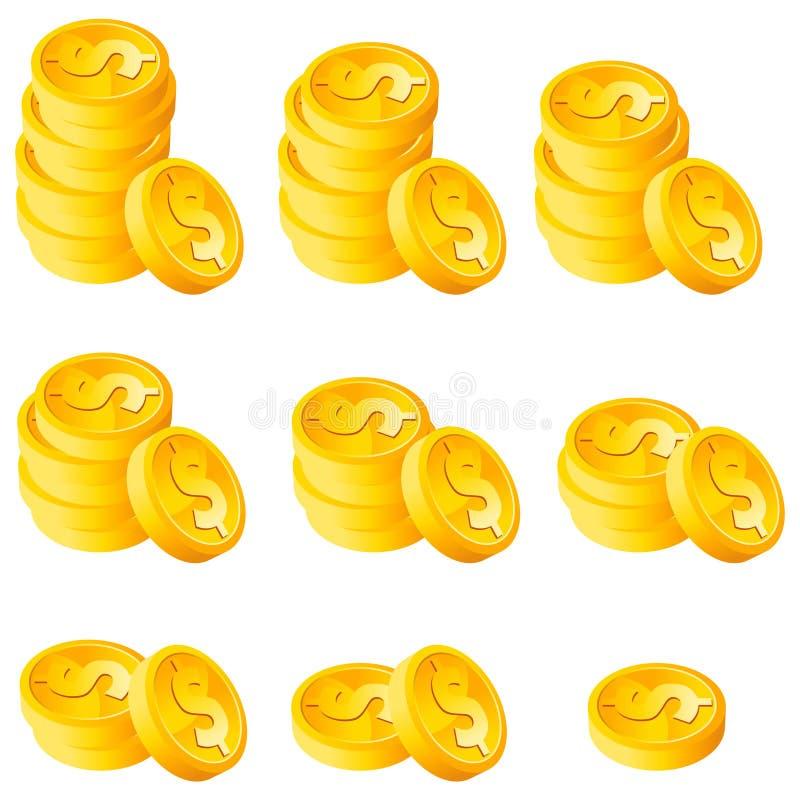 Pila de monedas de oro ilustración del vector