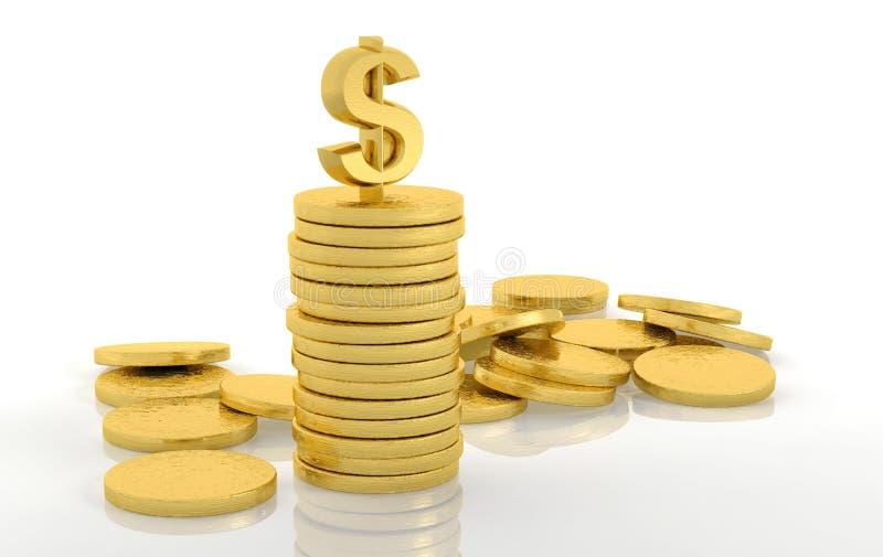 Pila de monedas de oro con el dólar stock de ilustración