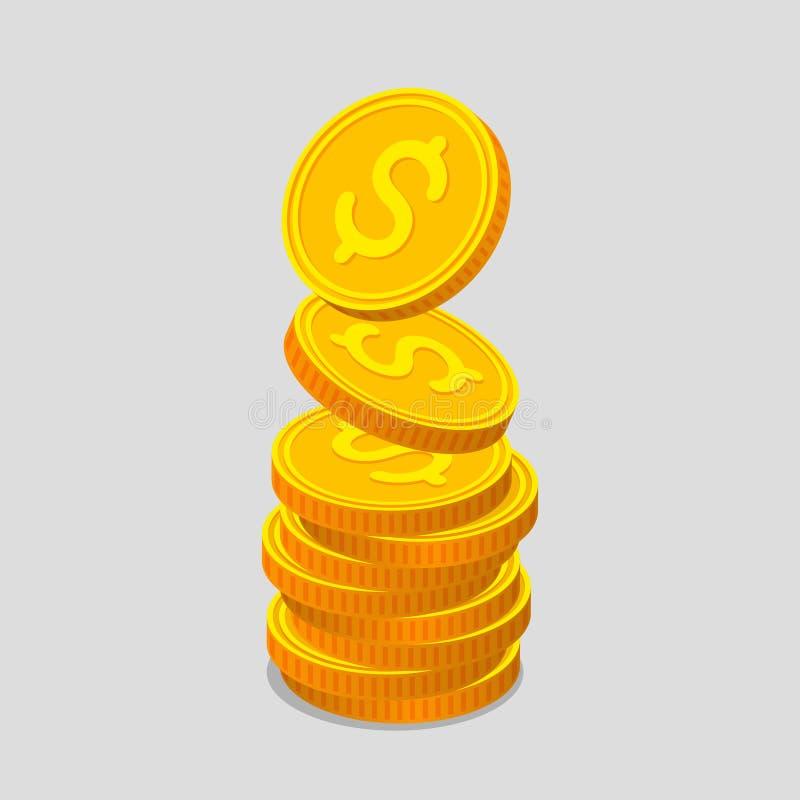 Pila de monedas de oro con las muestras de dólar ilustración del vector