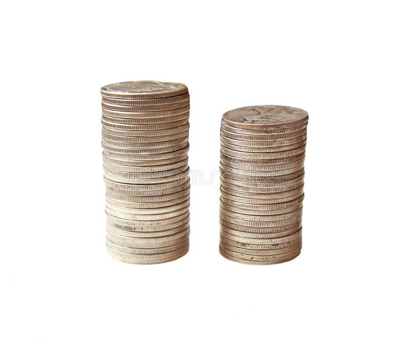 Pila de monedas de plata de los E.E.U.U. imagen de archivo libre de regalías