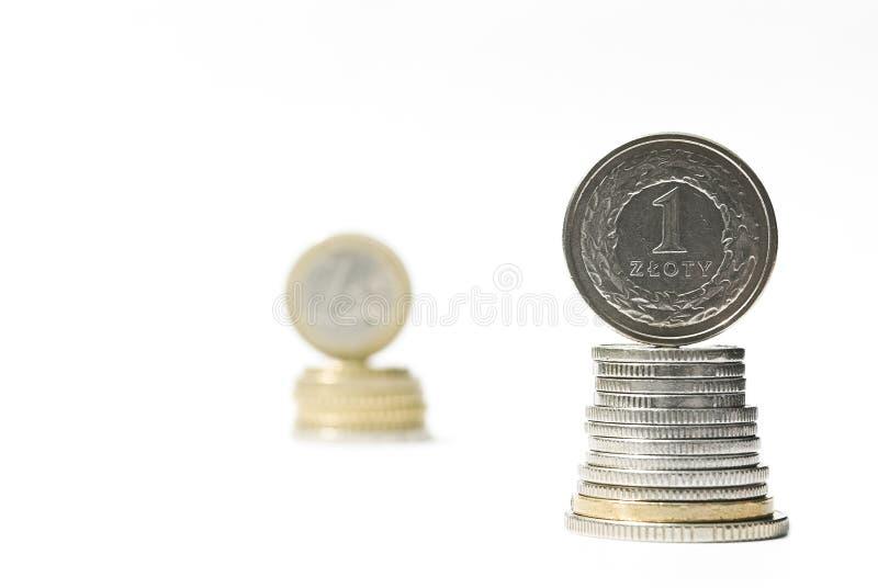 Pila de monedas del euro y del zloty del dinero. Comparación de la tasa de cambio foto de archivo